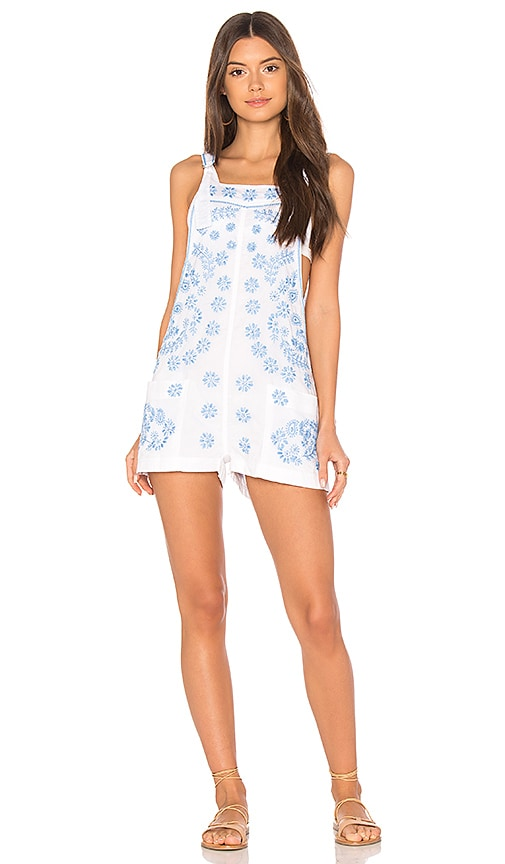 juliet dunn Embroidered Romper in White