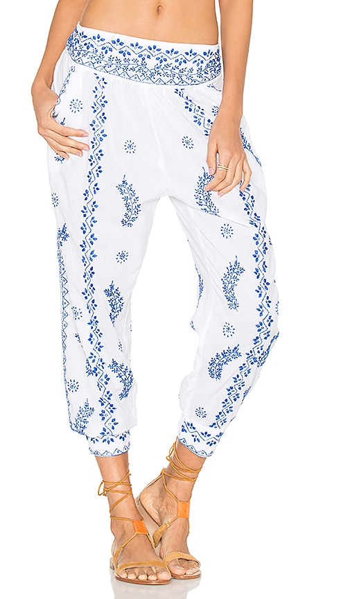 juliet dunn Cotton Embroidered Trousers in White