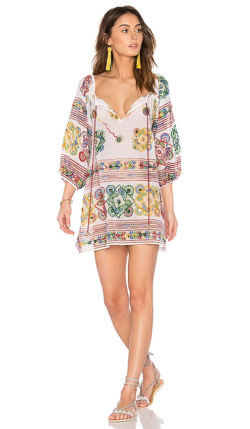 juliet dunn Cotton Tribal Boho Dress in White