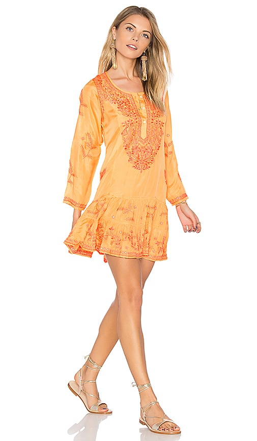 juliet dunn Silk Long Sleeve Beach Dress in Orange