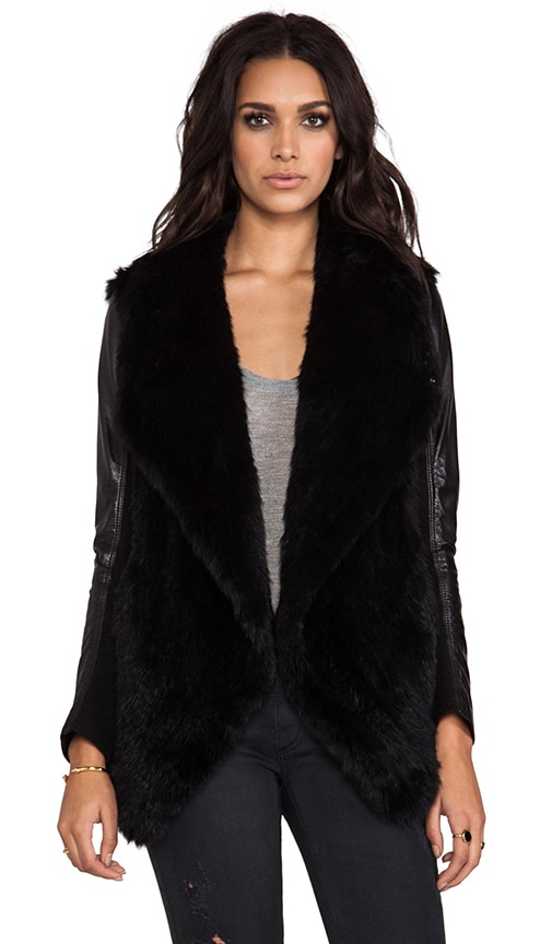 Knit Fur Jacket With Leather Sleeves