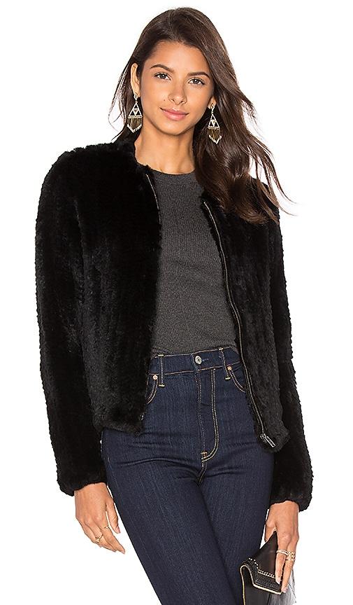 Zip Rabbit Fur Knitted Jacket