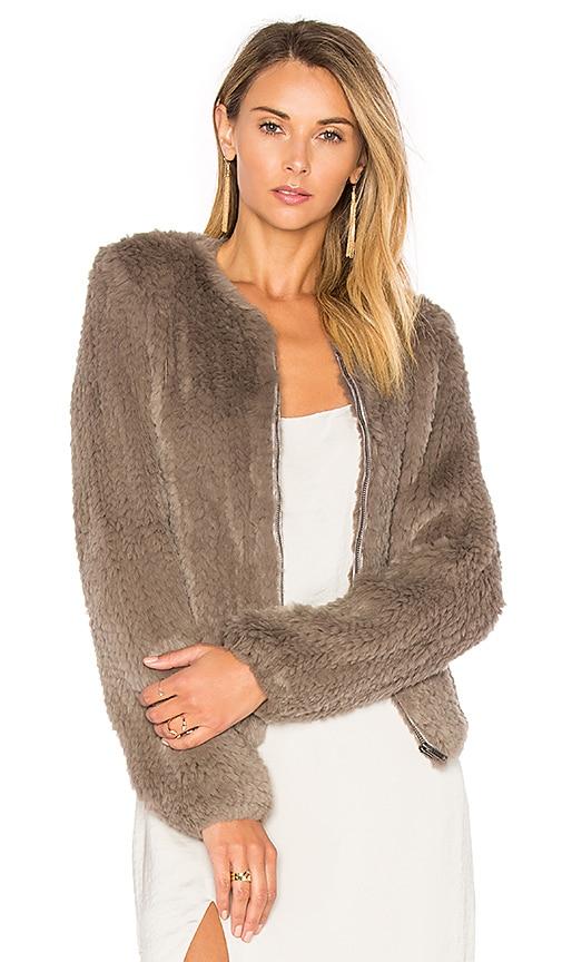 Zip Dyed Rabbit Fur Jacket