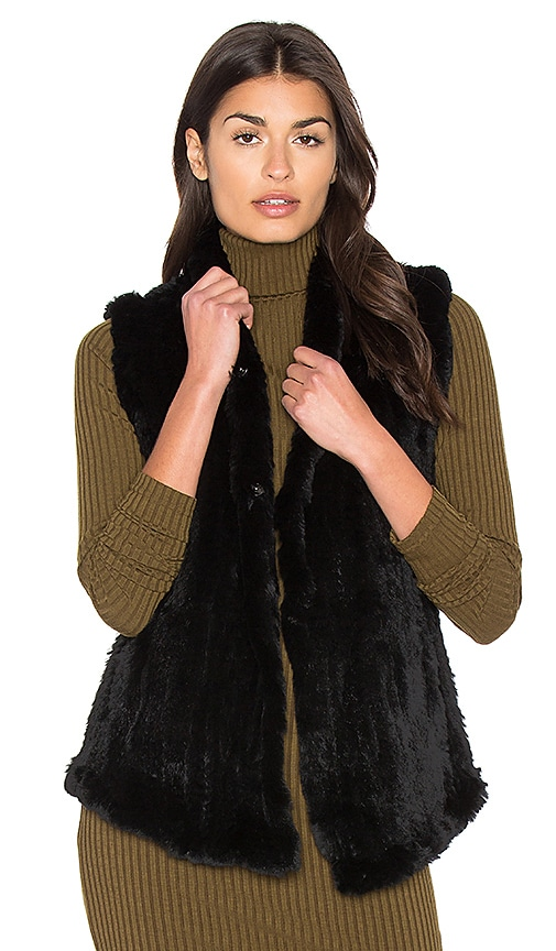 June Shawl Dyed Rabbit Fur Vest in Black