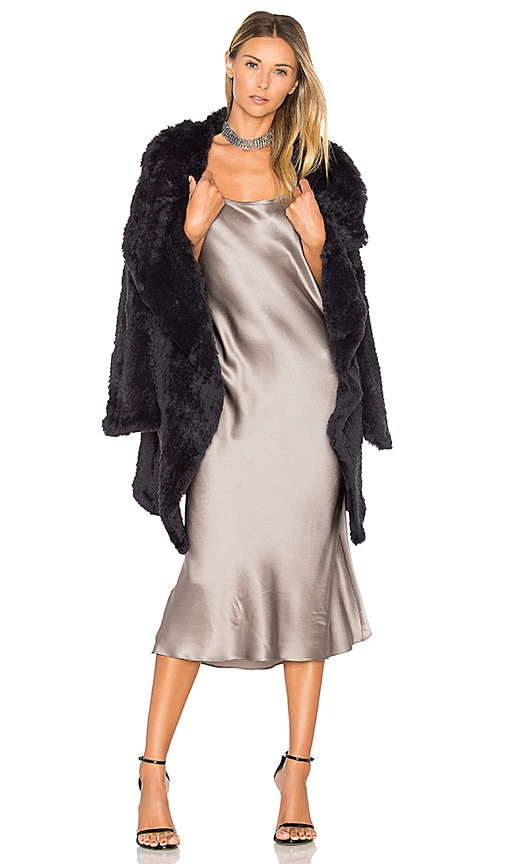 June Flair Sleeve Long Rabbit Fur Jacket in Navy