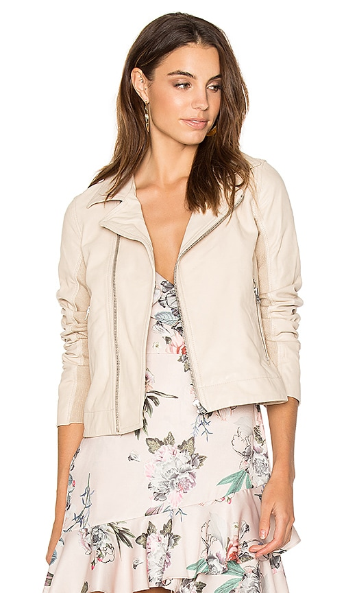 June Fitted Moto Jacket in Beige