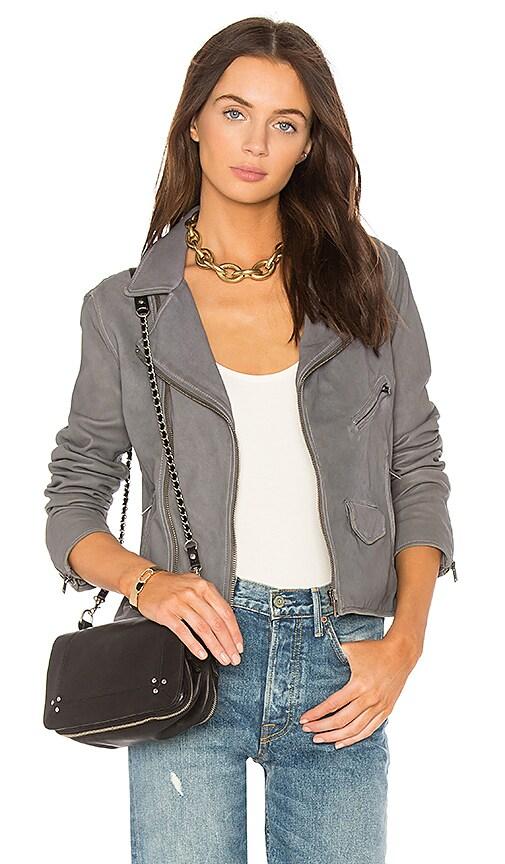 June Stonewash Vintage Moto Leather Jacket in Gray