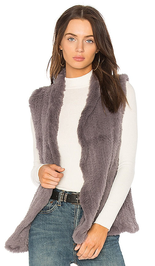 June Classic Rabbit Fur Shawl Vest in Lavender