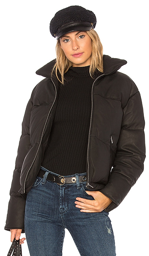 shop for authentic cost charm drop shipping June Washed Leather Puffer With Rabbit Fur in Black | REVOLVE