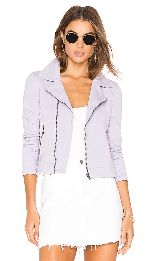 June Distressed Stretch Moto Jacket in Purple