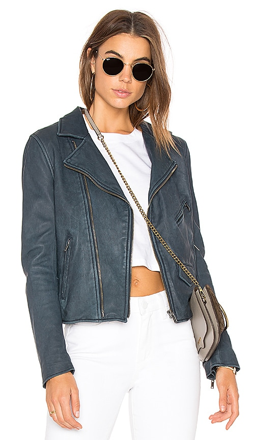 June Vintage MC Leather Jacket in Navy