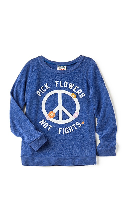 Junk Food Pick Flowers Not Fights Tee in Blue