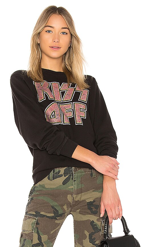 Junk Food Kiss Off Pullover in Black