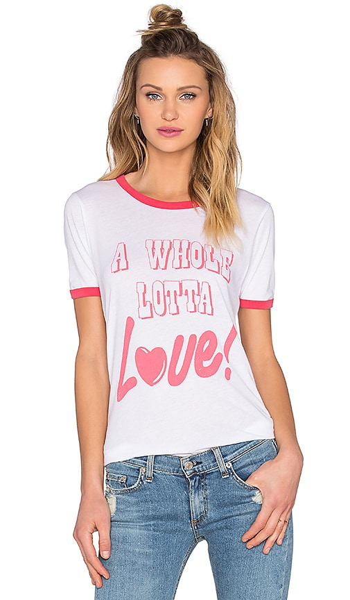 Junk Food A Whole Lotta Love Tee in Electric White & Licorice