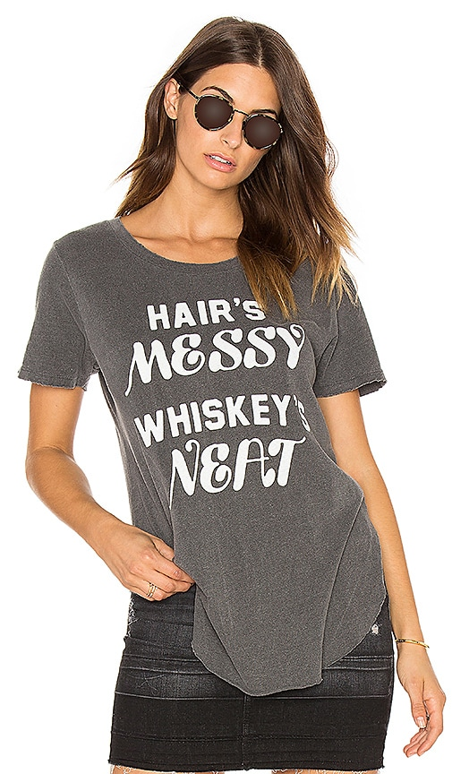 Junk Food Hair's Messy Whiskey's Neat Tee in Charcoal