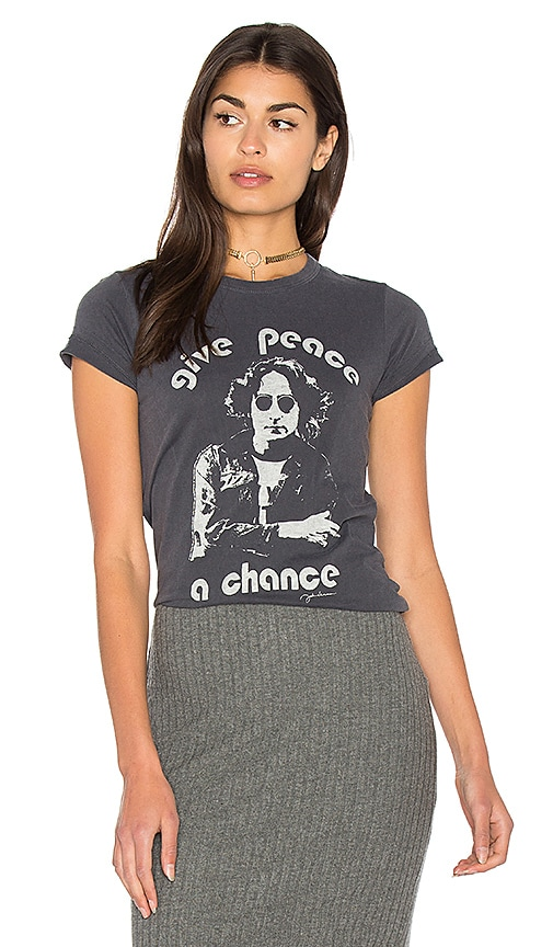 Junk Food Give Peace A Chance Tee in Charcoal