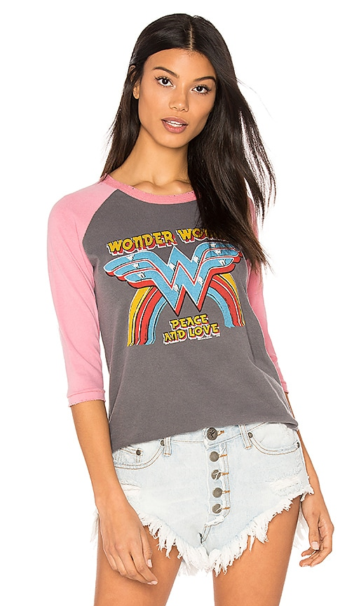Junk Food Wonder Woman Raglan Tee in Charcoal