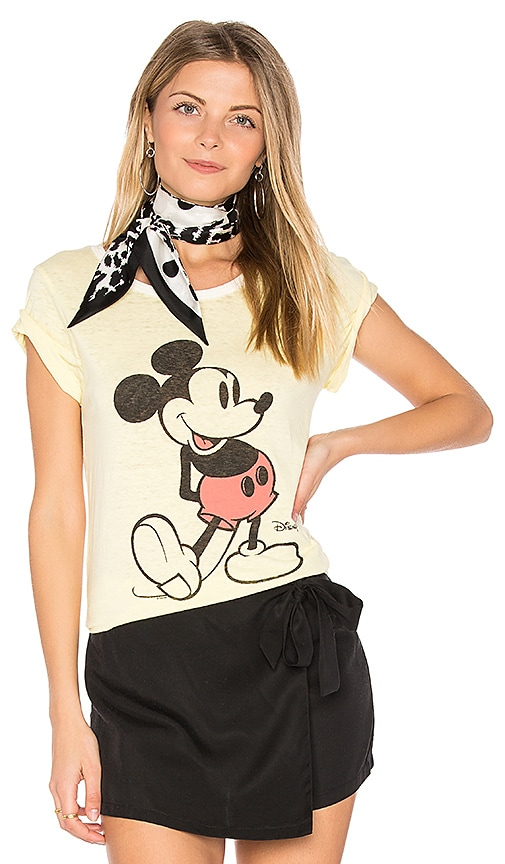 Junk Food Mickey Mouse Tee in Yellow