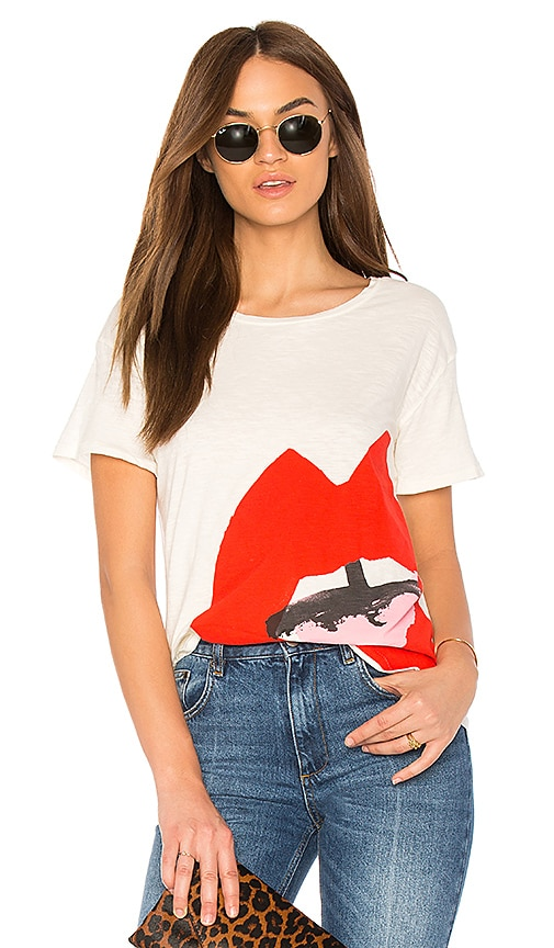 Junk Food Donald Robertson Open Mouth Tee in Ivory