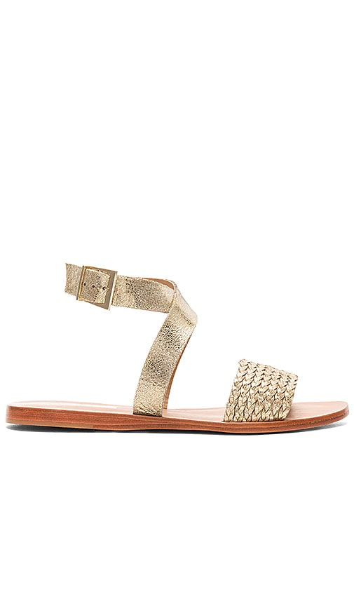 Kaanas Fortaleza Braided Sandal in Metallic Gold