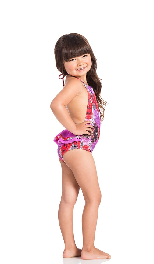 KAI LANI Mini Mamba Ruffle One Piece in Fuchsia