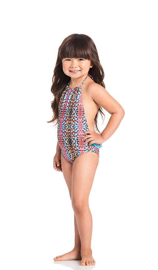 KAI LANI Mini Viper Ruffle One Piece in Blue