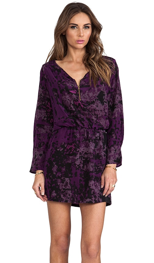 Purple Silk Purple Granite Print Miranda Mini Dress