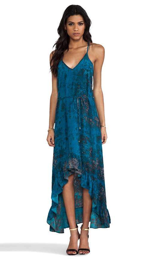 Silk Teal Granite Print Romantic Maxi Dress