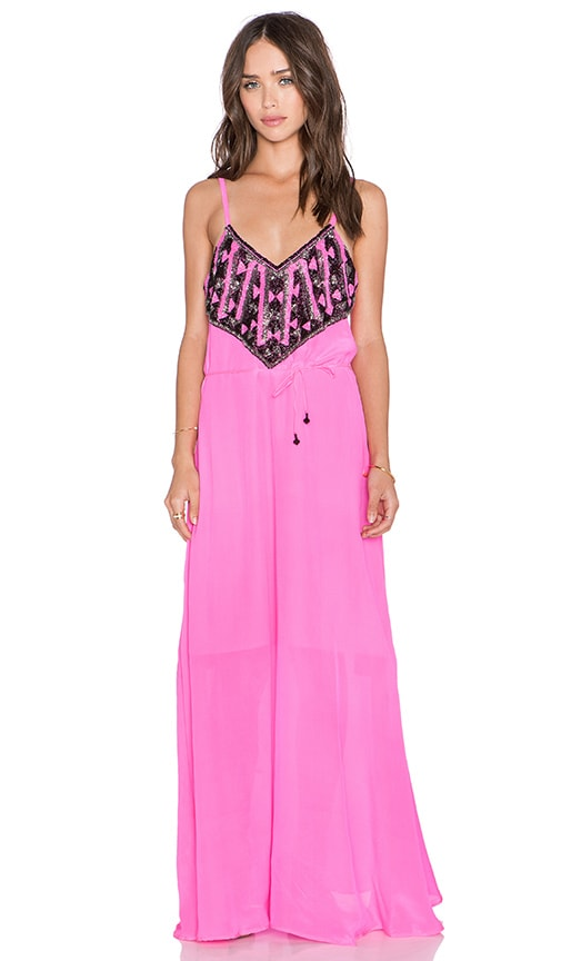 Karina Grimaldi Palmer Beaded Maxi Dress in Neon