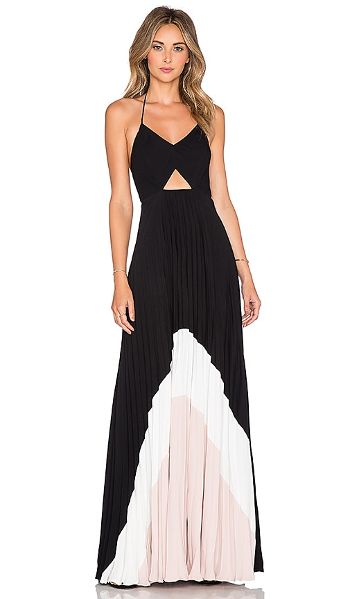 Karina Grimaldi Fabi Pleated Maxi Dress in Black