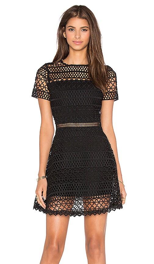 Karina Grimaldi Vincent Crochet Mini Dress in Black