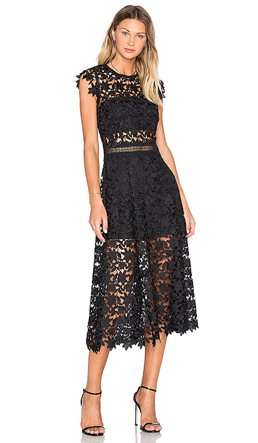 Karina Grimaldi Dorianne Crochet Dress in Black