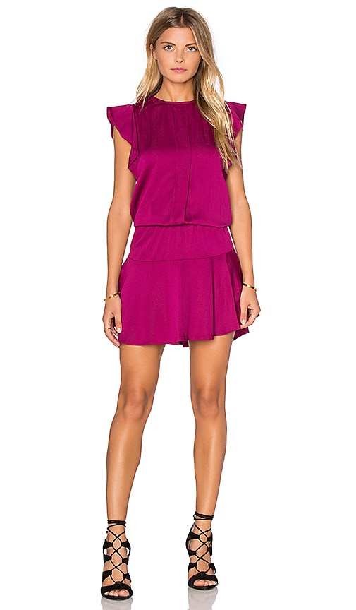 Karina Grimaldi Kaiya Solid Mini Dress in Magenta