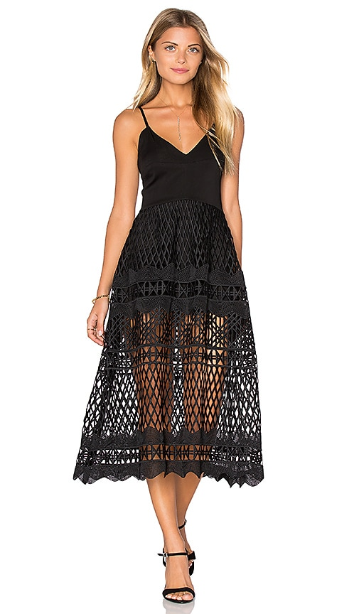 Karina Grimaldi Alice Crochet Dress in Black