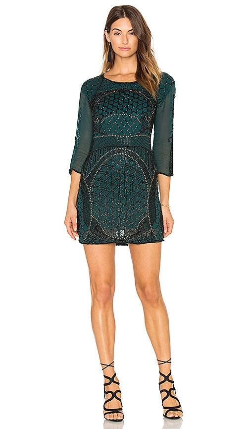 Karina Grimaldi Beth Beaded Mini Dress in Teal