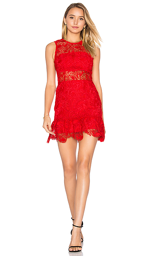 Karina Grimaldi Felicia Lace Mini Dress in Red