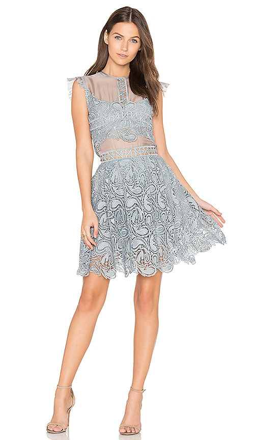 Karina Grimaldi Manhattan Lace Mini Dress in Slate