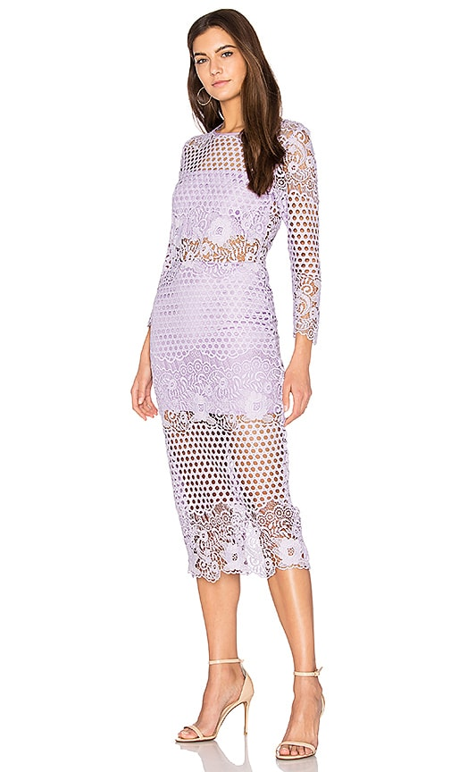 Karina Grimaldi Shell Lace Dress in Lavender
