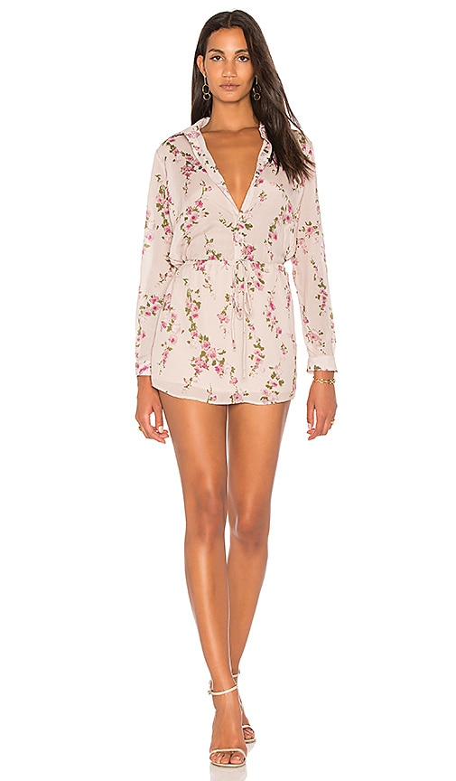 Karina Grimaldi Valentina Floral Shirt Dress in Blush