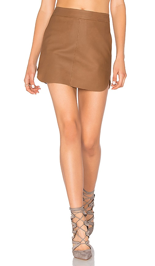 Karina Grimaldi Jacob Leather Skirt in Brown