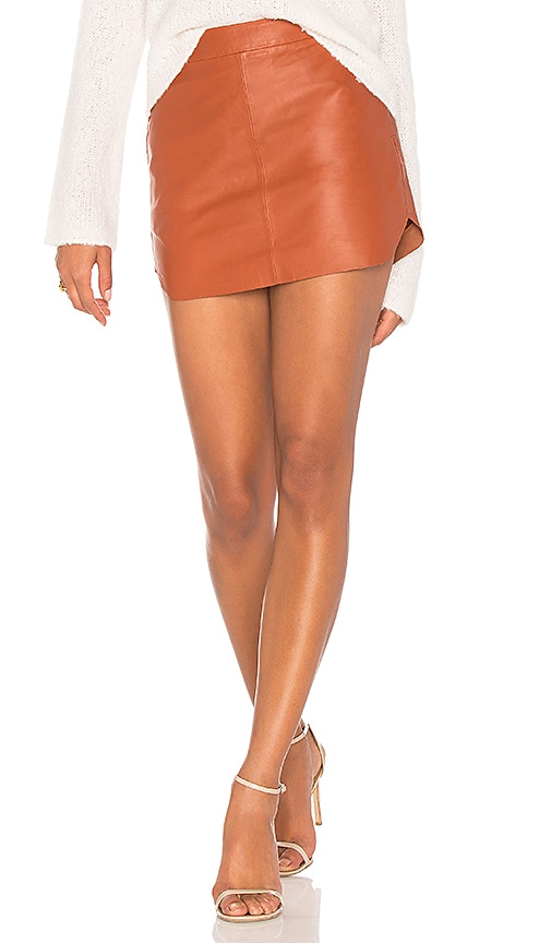 Karina Grimaldi Jacob Leather Skirt in Rust