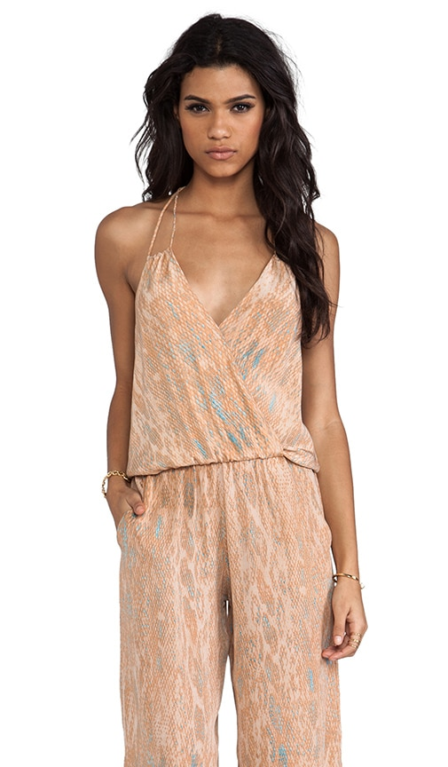 bad8590dc117 Karina Grimaldi Silk Peach Snake Print Gardenia Jumpsuit in Peach ...