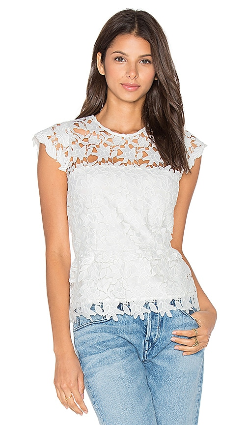 Karina Grimaldi Hanna Crochet Top in Snow