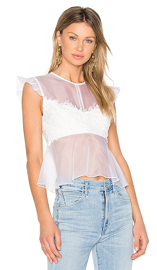 Karina Grimaldi Petite Lace Top in White