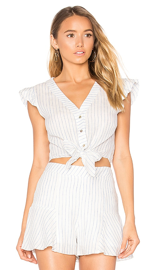 Karina Grimaldi San Juan Linen Top in White