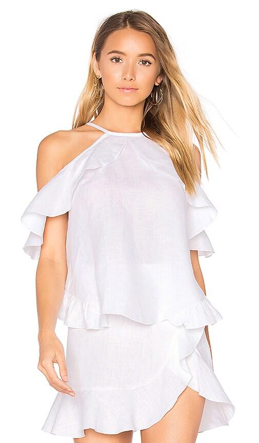 Karina Grimaldi Rocha Linen Top in White