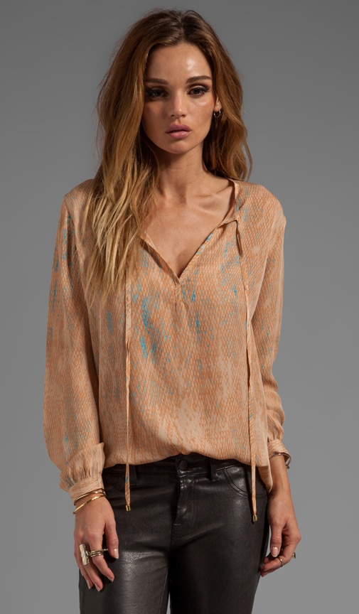 Silk Peach Snake Print Sasha Top