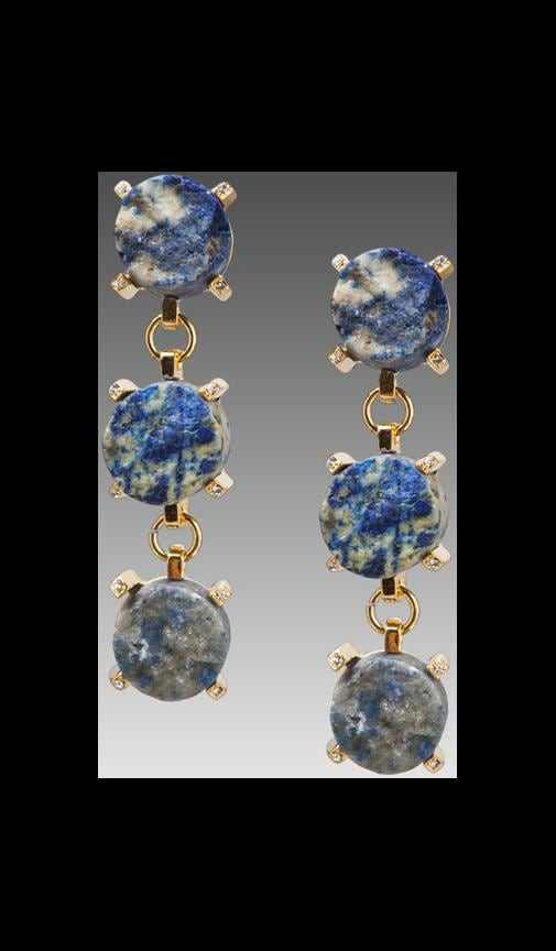 Blue Lapis 3 Stone Drop Earrings on Gold