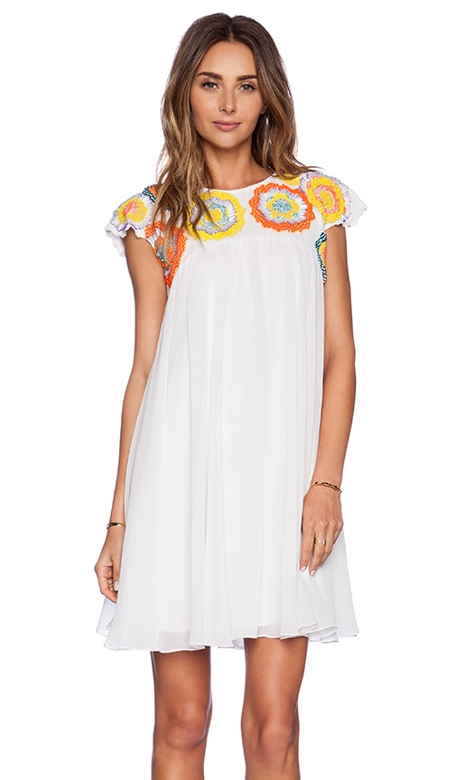 KAS New York Akma Mini Dress in White & Multi