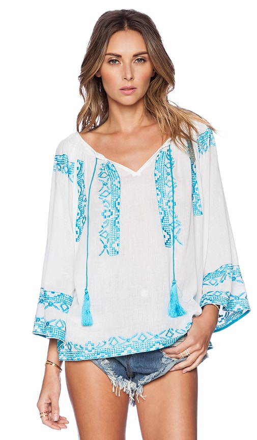 KAS New York Hana Blouse in White & Blue